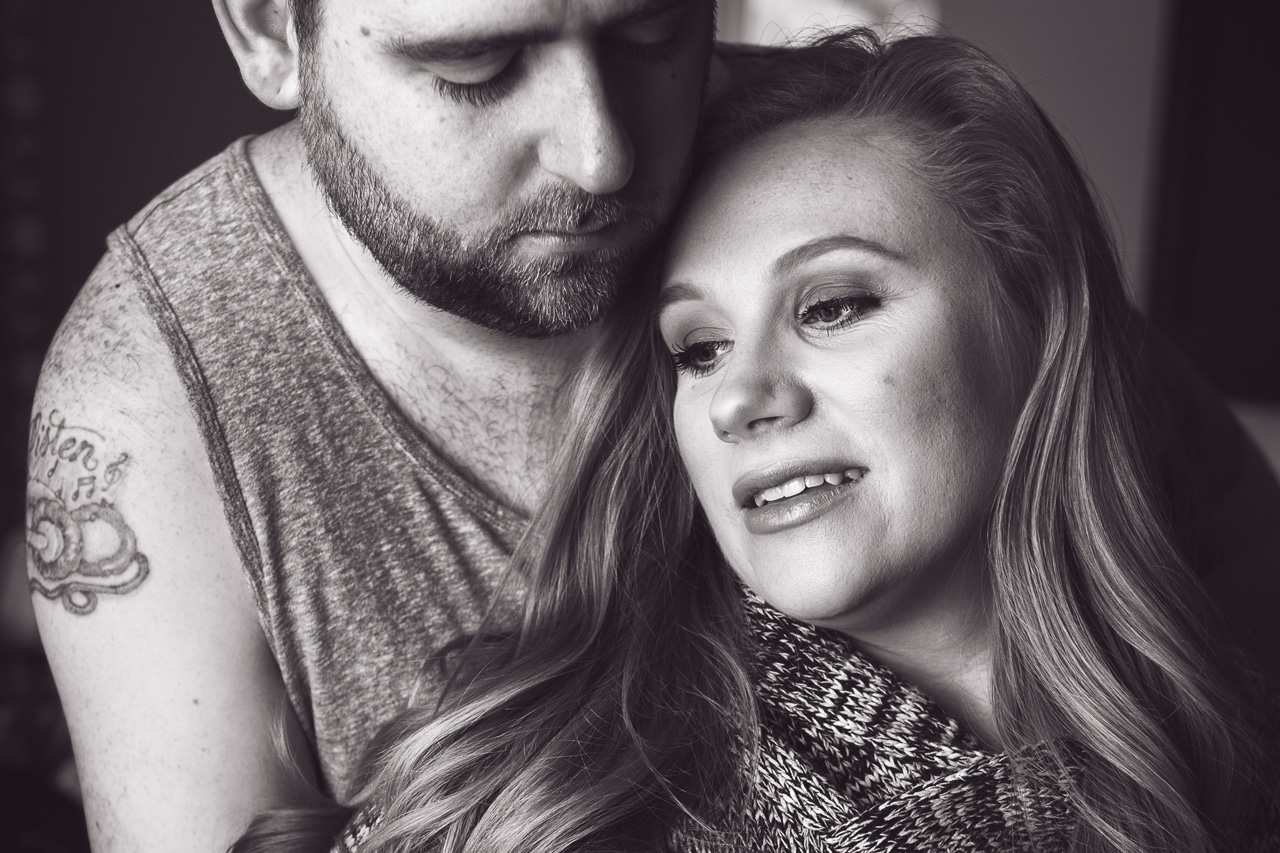 black and white maternity portrait
