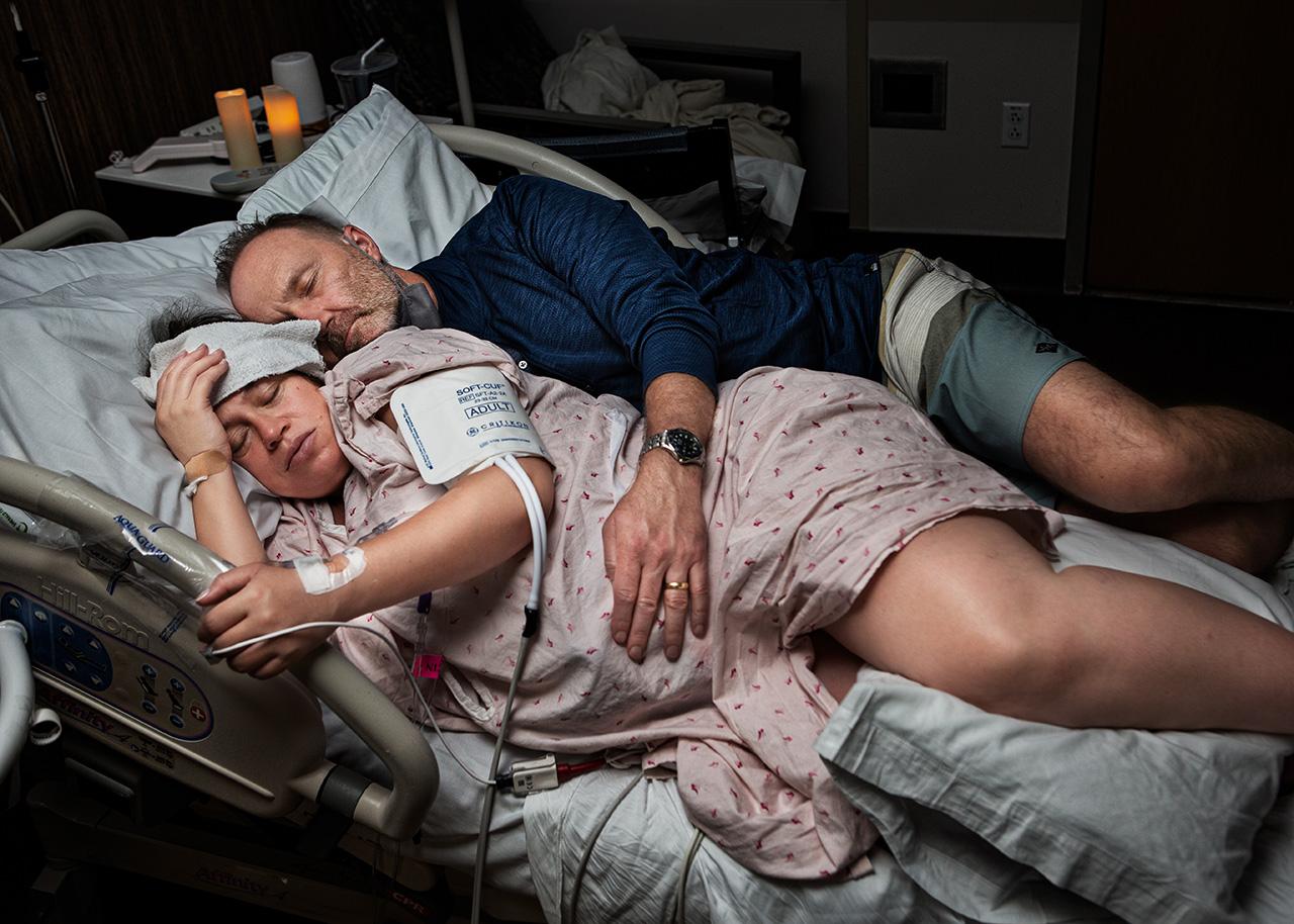 labor exhaustion  birth photo by san diego  photographer, leona darnell