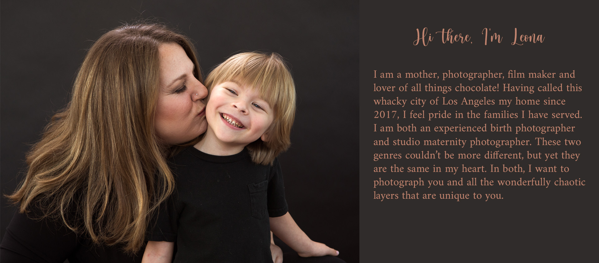 Color image and text describing Los Angeles birth and maternity photographer, Leona Darnell as she kisses her son.